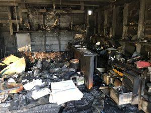 Another kitchen completely destroyed by a fire.