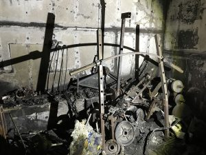 Fire damage to excercise equipment: weights, machine, dumb bells.