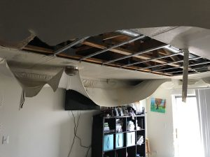 Water damage in a ceiling