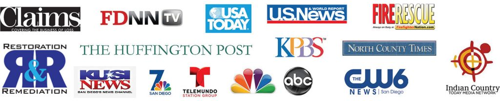 Logos of: Claims, FDNN TV, USA Today, U.S. News, Fire Rescue, Restoration and Remediation, KUSI News, 7 San Diego, Telemundo, NBC, ABC, CW6, Indian Country